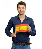 A Young Man Holding A Spain Flag — Stock Photo