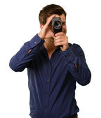 Young Man Holding Old Camera — Stock Photo
