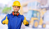 Engineer With Thumps Up — Stock Photo
