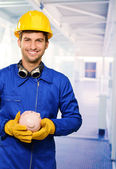 Engineer With Piggy Bank — Stock Photo