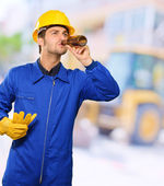 Portrait Of An Engineer Drinking — Foto de Stock