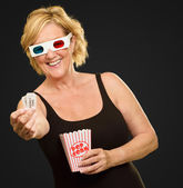 Happy Woman Wearing 3d Glasses — Stock Photo