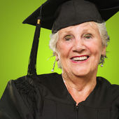 Mature Woman Wearing Graduation Hard — Stock Photo