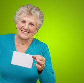 Portrait Of A Woman Holding Blank Paper — Stock Photo