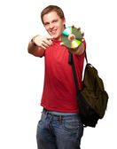 Portrait Of A Man With Compact Disc — Stock Photo