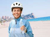 Portrait Of Cyclist Middle Aged Woman — Stock Photo