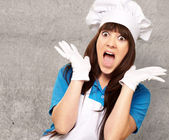 Shocked To Woman On Cooking Time — Stock Photo