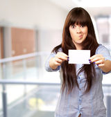 Funny Girl Showing Blank Paper — Stock Photo