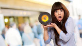 Shock Girl Showing Vinyl — Stok fotoğraf