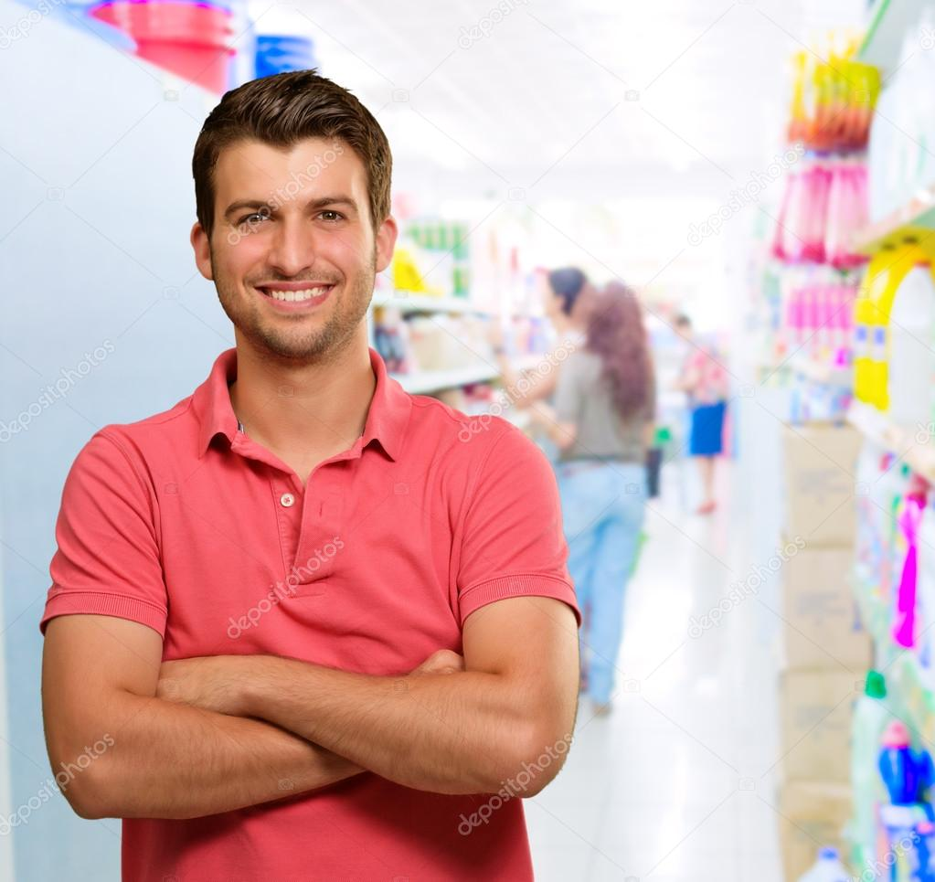 Happy Man In Supermarket, Indoors — Stock Photo #12665007