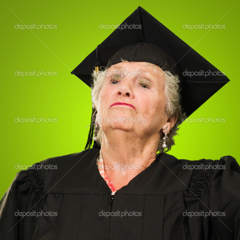 Graduate Senior Woman Standing With Pride Isolated Over Color Background — Stockfoto #12666926
