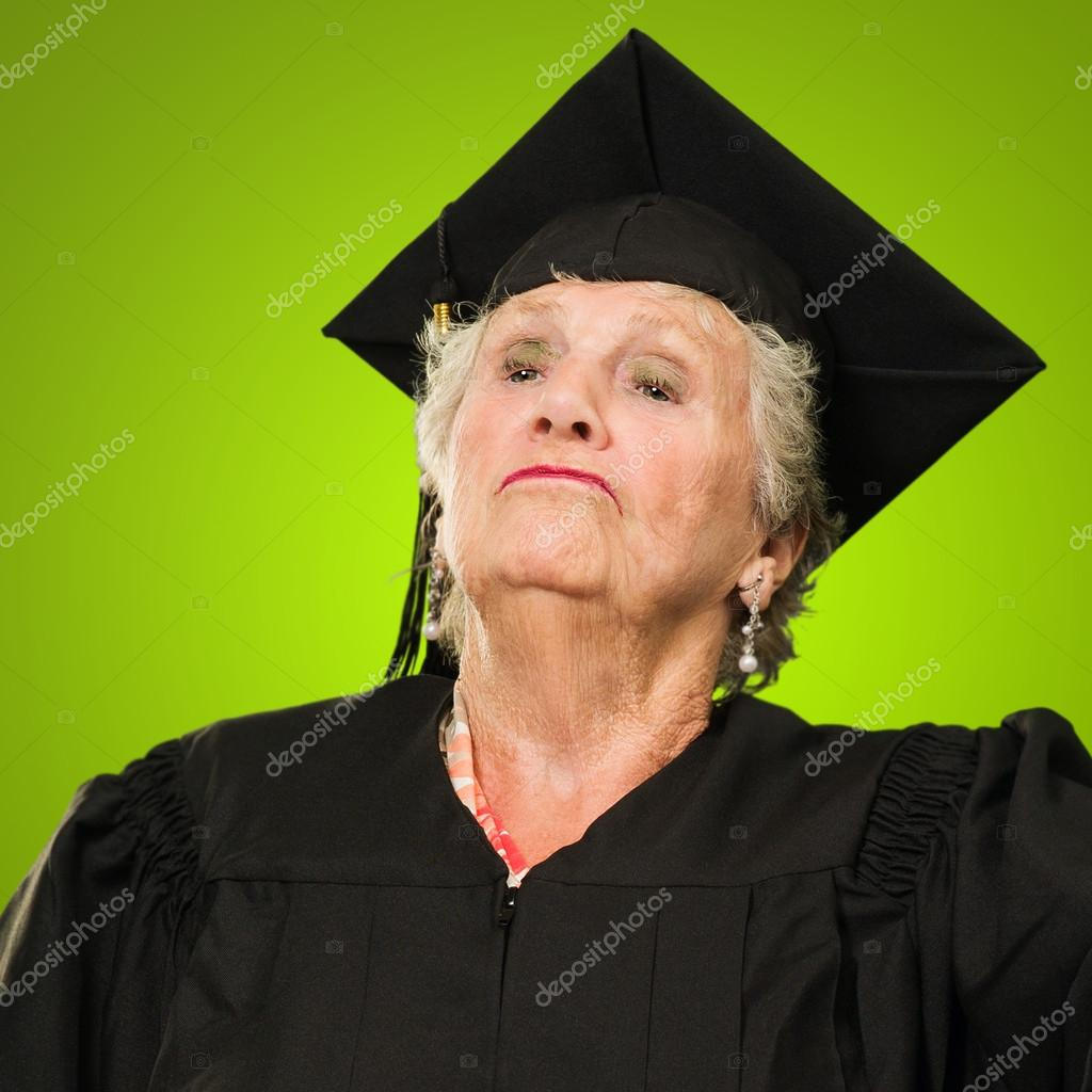 Graduate Senior Woman Standing With Pride Isolated Over Color Background — Foto de Stock   #12666926
