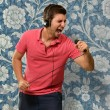 Portrait of a man singing, wallpaper — Stock Photo