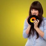 Young Girl Baiting Vinyl — Stock Photo #13309725