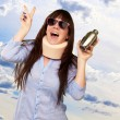 Woman Wearing Neckbrace Holding A Shaker — Stock Photo #13309727