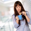 Beautiful Woman With Coffee And Cookies — Stock Photo #13309792