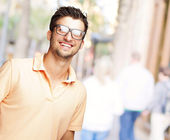 Happy Young Man Wearing Glasses — Stock Photo