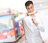 Portrait Of Young Man Gesturing Time Out Sign — Stock Photo