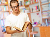 Man Looking At Book — Stock Photo