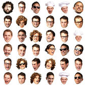 Big collection of person faces over white background — Stock Photo