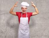 Angry Young Man Raising His Hand — Stock Photo