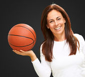 Woman Holding Basketball — Stock Photo