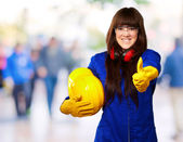 Portrait Of A Young Female Worker — Stockfoto