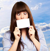 Woman Holding Blank Card — Stock Photo