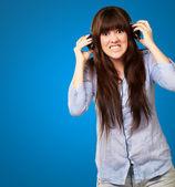 Woman Wearing Headphone — Stock Photo