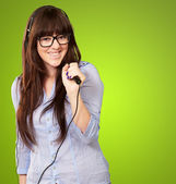 Portrait Of A Young Female With A Mike — Stock Photo