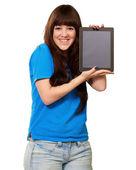 Woman Holding Ipad — Zdjęcie stockowe
