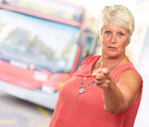 Portrait Of A Senior Woman Pointing Finger — Stock Photo