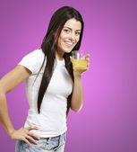 Woman holding a glass — 图库照片