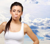Female Blowing Bubble Gum — Stock Photo