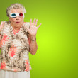 Afraid Senior Woman Wearing 3d Glasses — Stock Photo #13362775