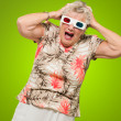 Afraid Senior Woman Wearing 3d Glasses - Stock Photo