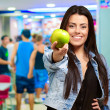 Portrait Of Young Woman Holding Green Apple — Stock Photo