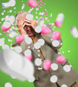 Old biznessmen closes hands over his face — Stock Photo