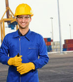 Engineer Holding Plier — Stock Photo