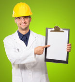 Architect Pointing On Writing Pad — Stock Photo