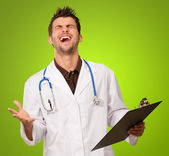 Portrait Of Young Exited Doctor — Stock Photo