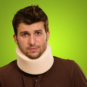 Young Man Wearing Cervical Collar — Stock Photo