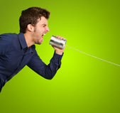 Man Shouting In Tin Can — Stock Photo