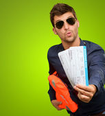 Man Showing Boarding Passes — Stock Photo