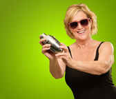 Woman Holding Shaker — Stock Photo
