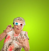 Afraid Senior Woman Wearing 3d Glasses — Stock Photo
