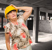 Senior Woman Wearing Hardhat — 图库照片