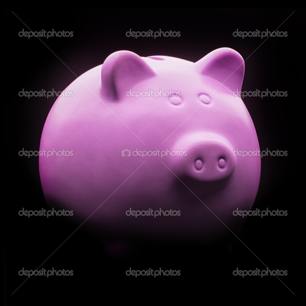 Pink Ceramic Piggy Bank Isolated On Black Background — Stock Photo #13362851