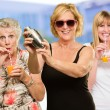 Three Women Enjoying The Drink — Stock Photo