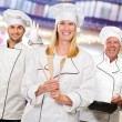 Group Of Happy Chef's At Work — Stock Photo